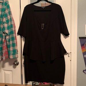 Charlotte Russe Plus black peplum dress size 3X